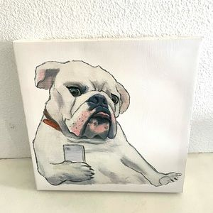 BULLDOG Holding Cell Phone Canvas painting